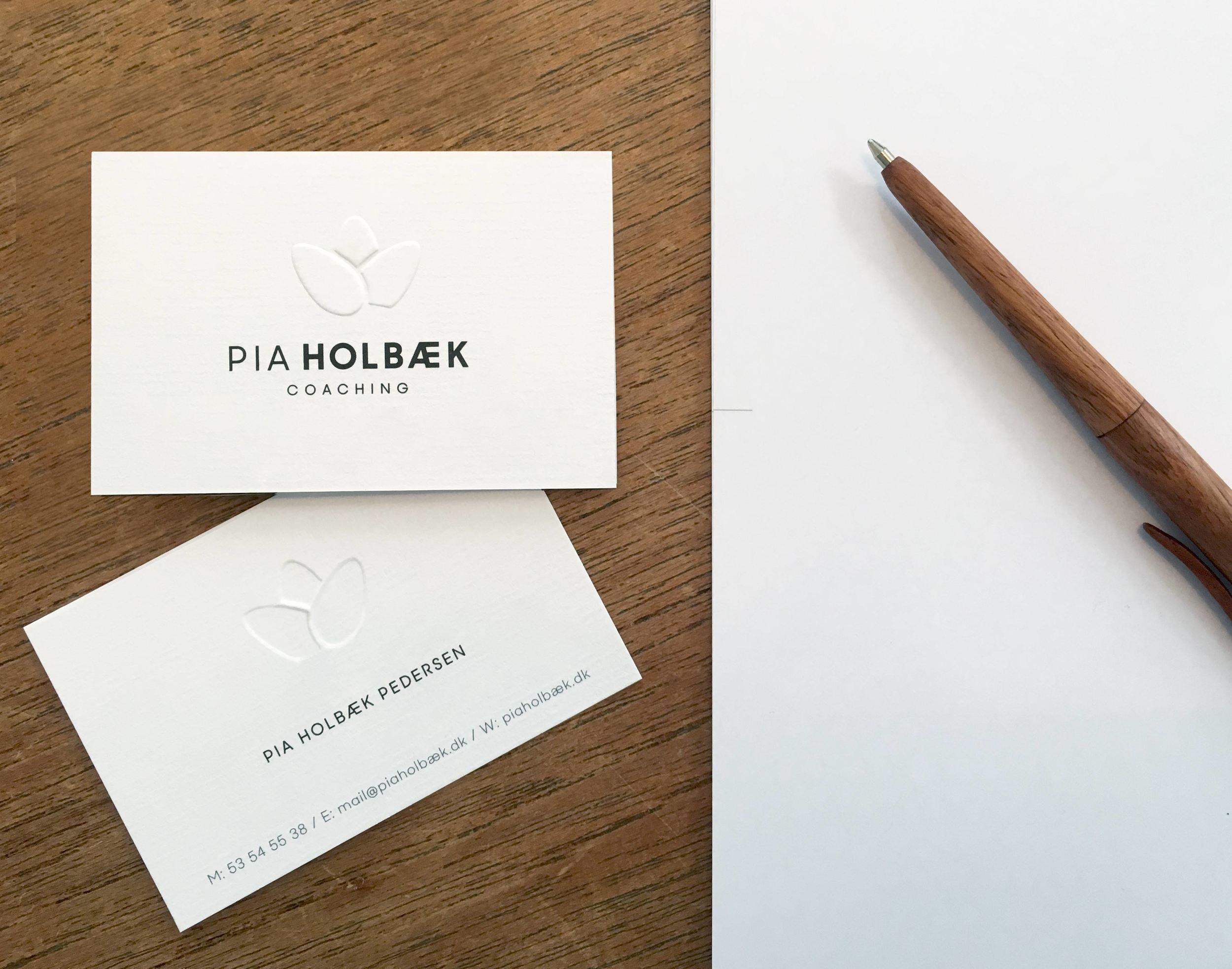 Pia Holbæk Coaching visitkort