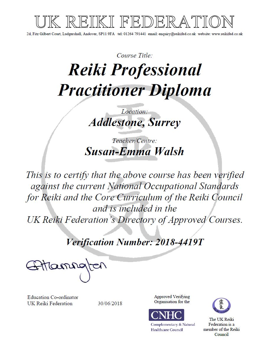 Surrey School of Reiki Accredited Courses
