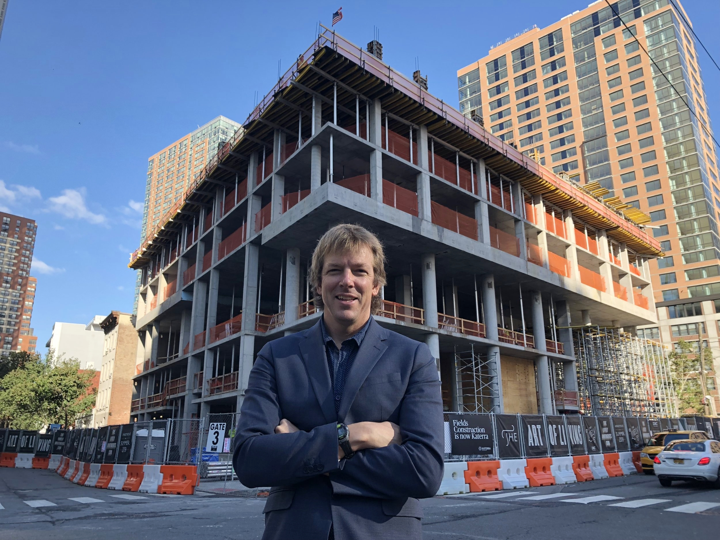 Artistic Director Samuel Pott visits the construction of 321 Warren Street. Photo credit: Hannah Weeks