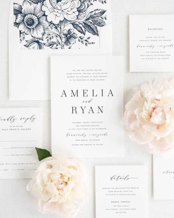 Amelia Wedding Invitations by ShineInvitations on Etsy $6.50+
