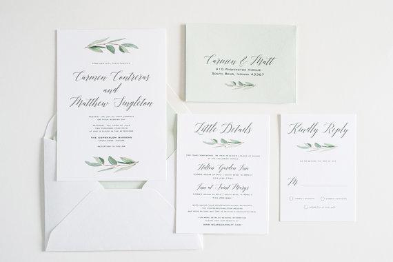 Eucalyptus Greenery, Simple, Calligraphy Watercolor Wedding Invite: CARMEN by TwigandJuniper on Etsy $8+