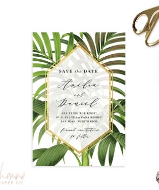 Tropical Fern - Amelia by LaBohemmePaperCo on Etsy, $20 (printable file)