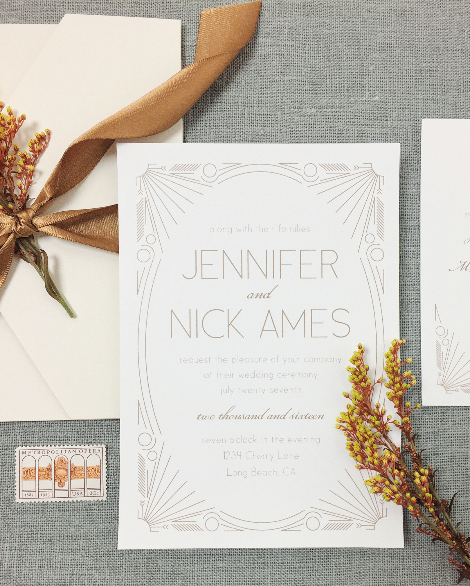 The Framed Art Deco Wedding Invitation by  Basic Invite