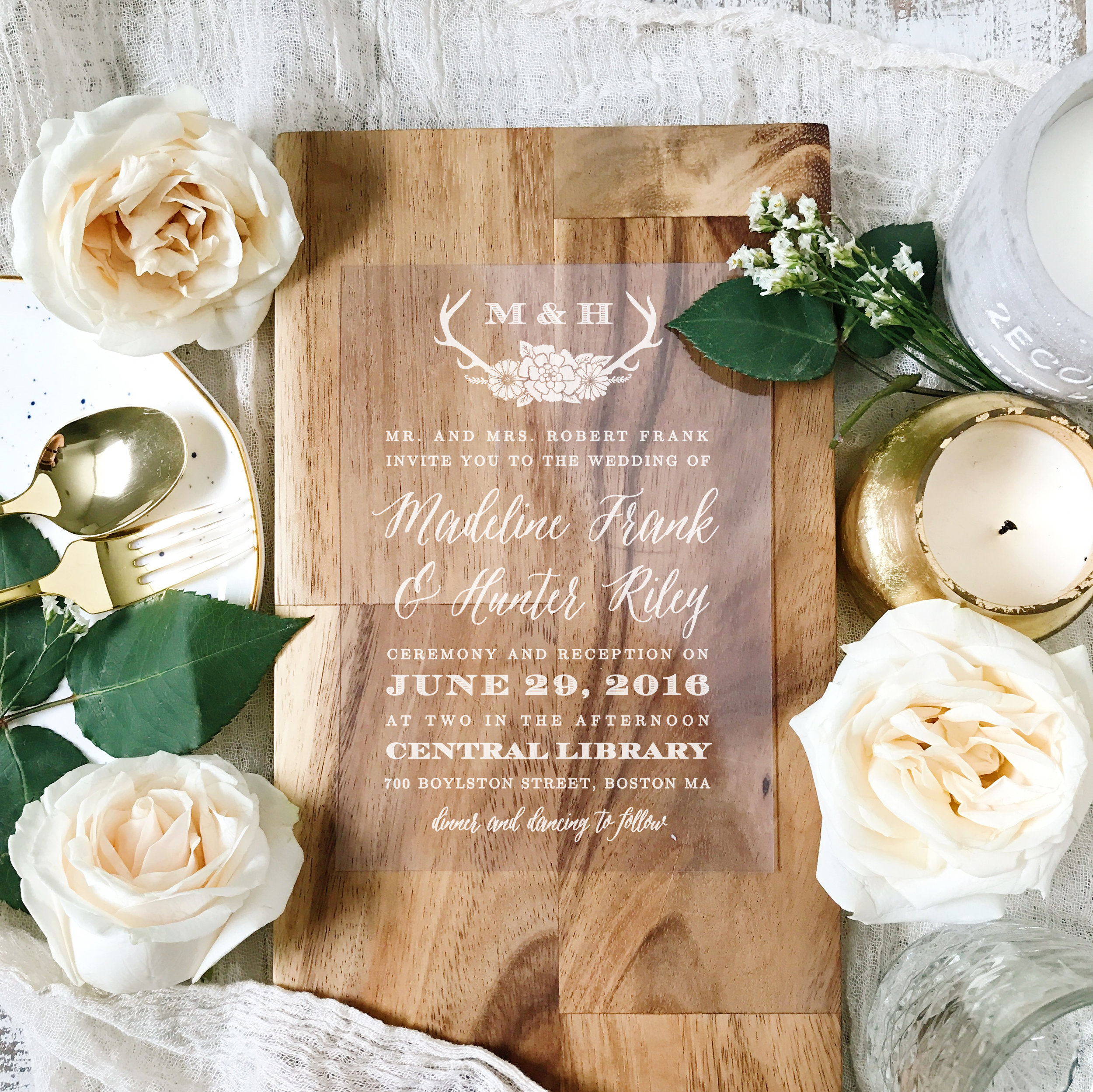 Blooming Antlers Clear Wedding Invitations by  Basic Invite