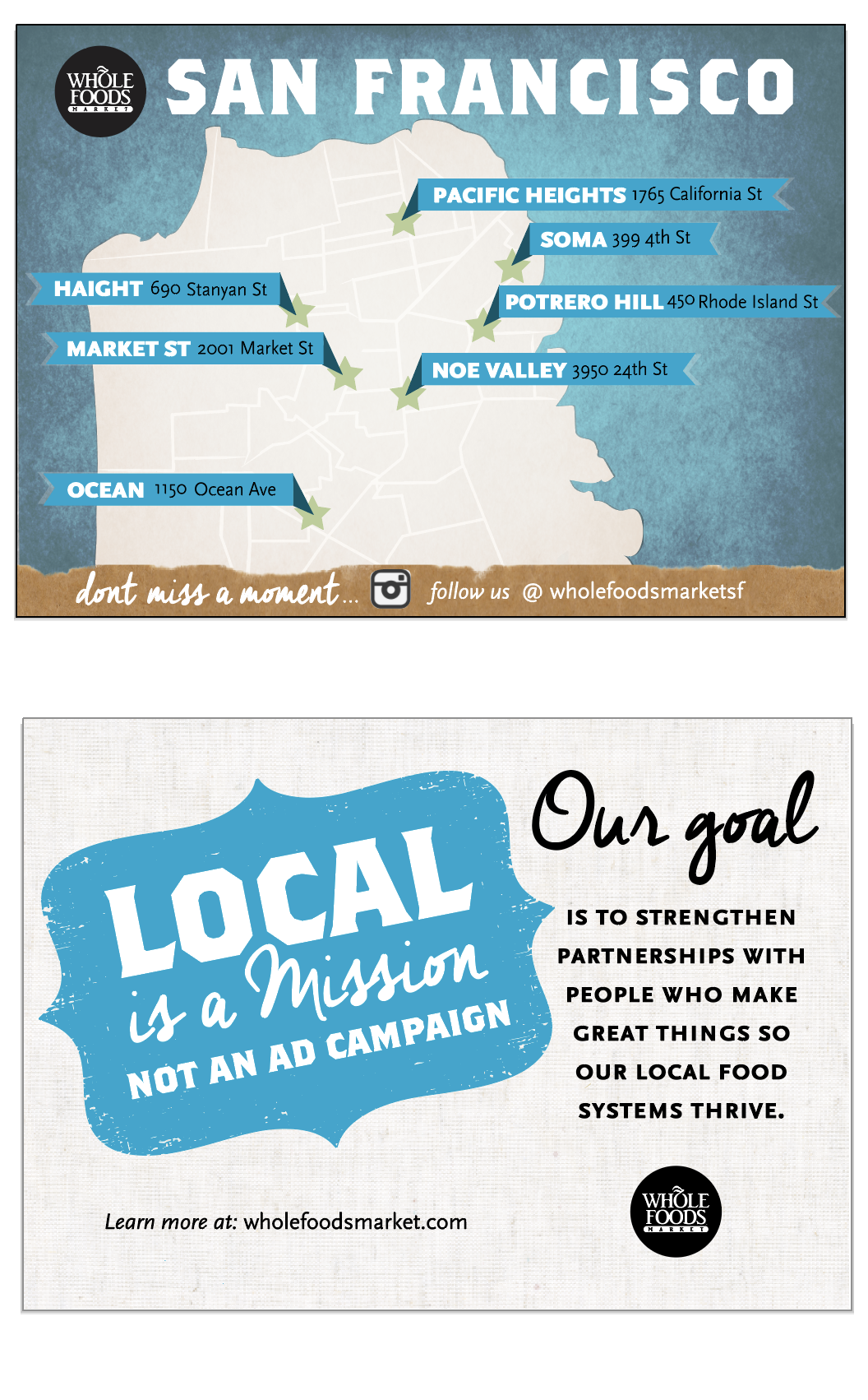 client: Whole Foods Market - city wide, direct mailer for new local campaign