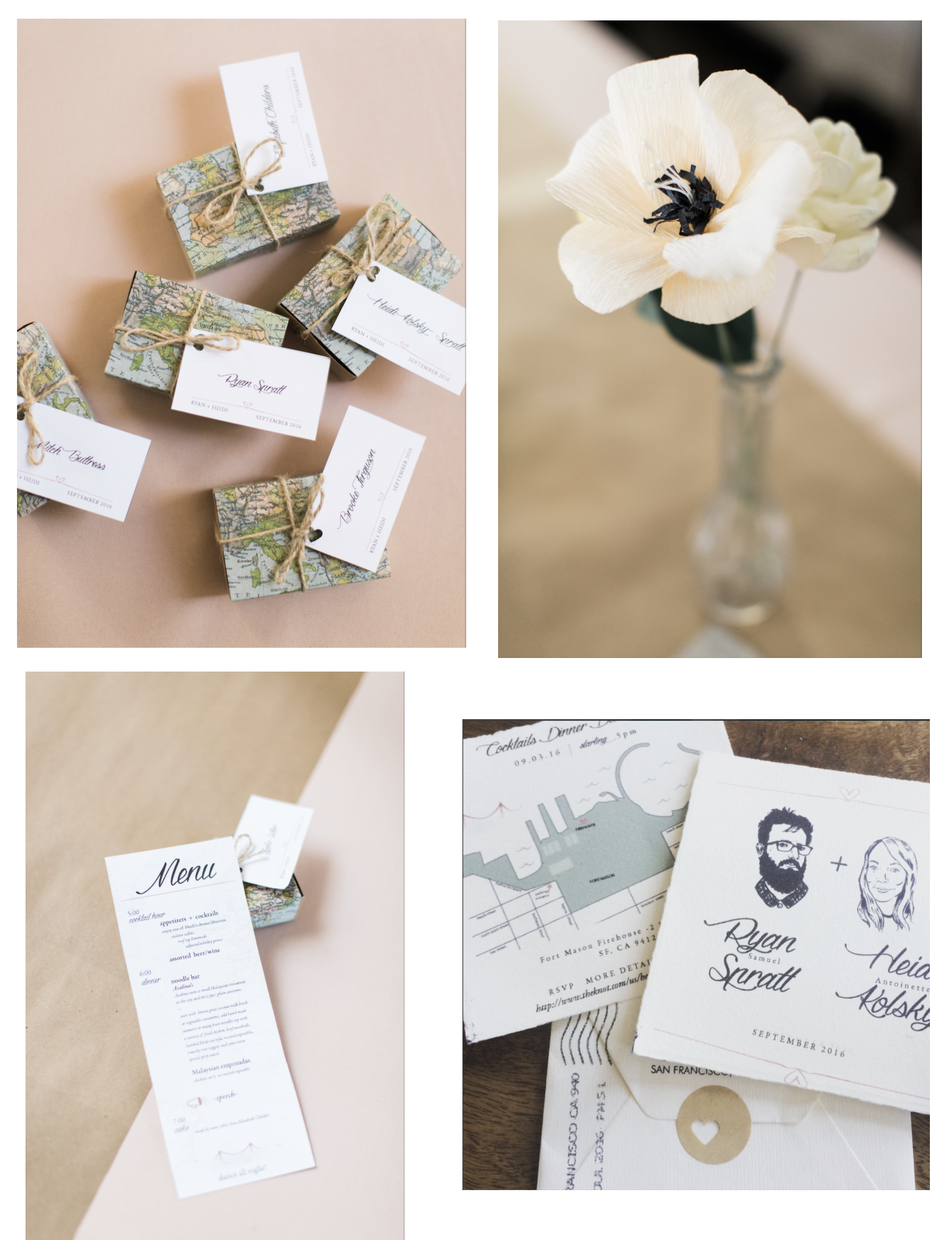 ... A Very Personal Project - invitation, menu and place tag design handmade paper flowers