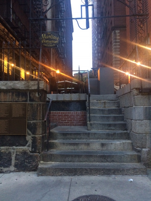 Steps to the Province House stables and rear grounds, located near DTX today