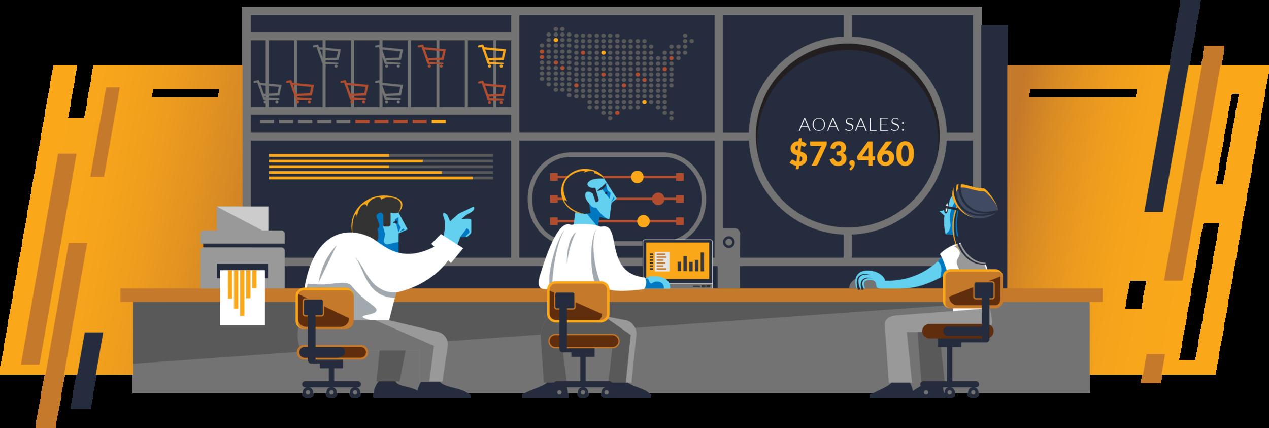 Purchase Data Metrics, hero spot illustration