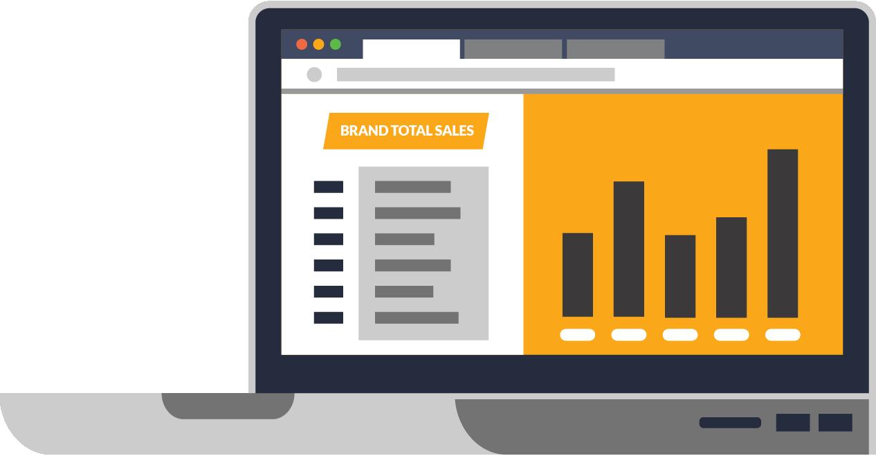 Purchase Data Metrics, publisher dashboard, spot illustration