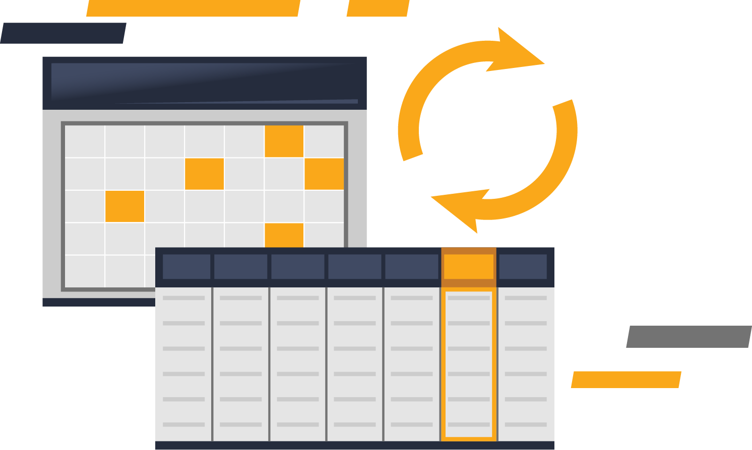 Purchase Data Metrics, data refresh frequency, spot illustration