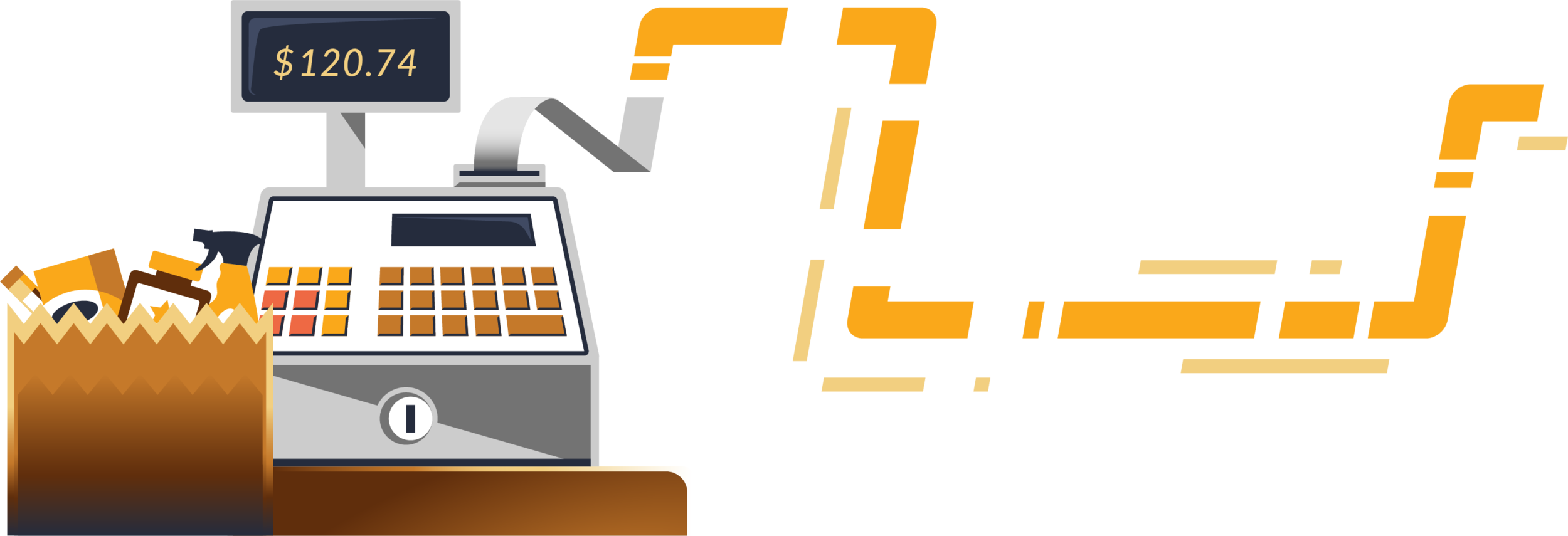 Purchase Data Metrics, near-real-time purchase signal from cash register, spot illustration
