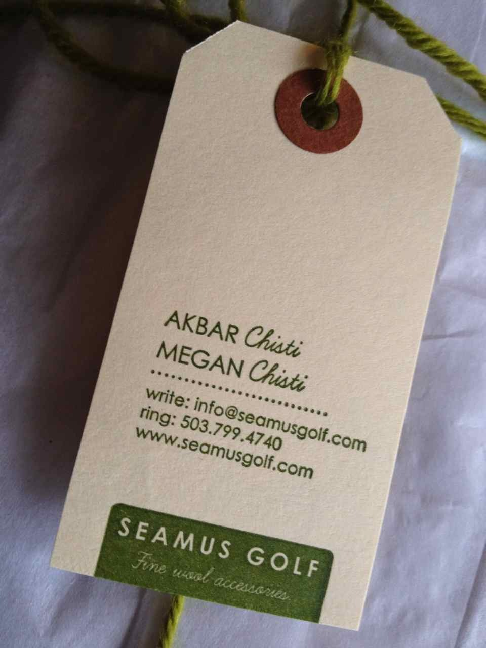 Seamus Golf business card - it's all in the details!