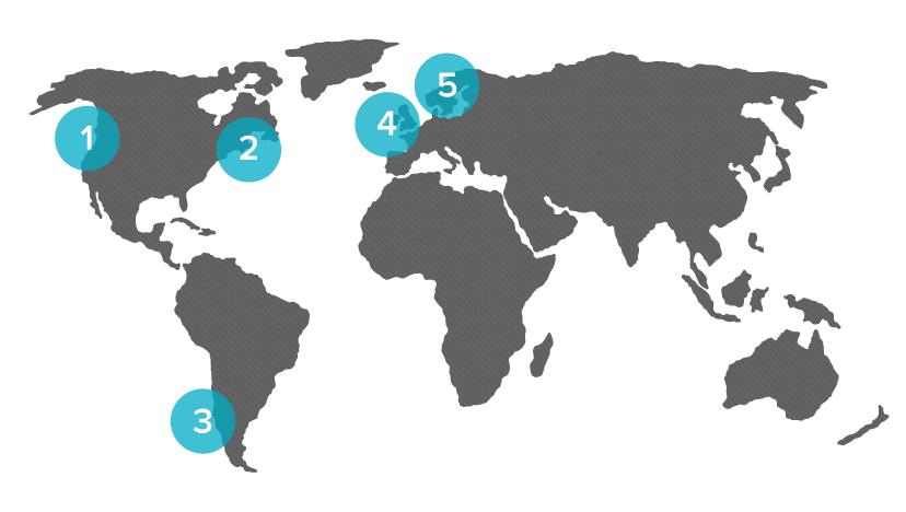1. British Columbia  2. New Brunswick & Nova Scotia  3. Chile  4. Scotland & Ireland  5. Norway