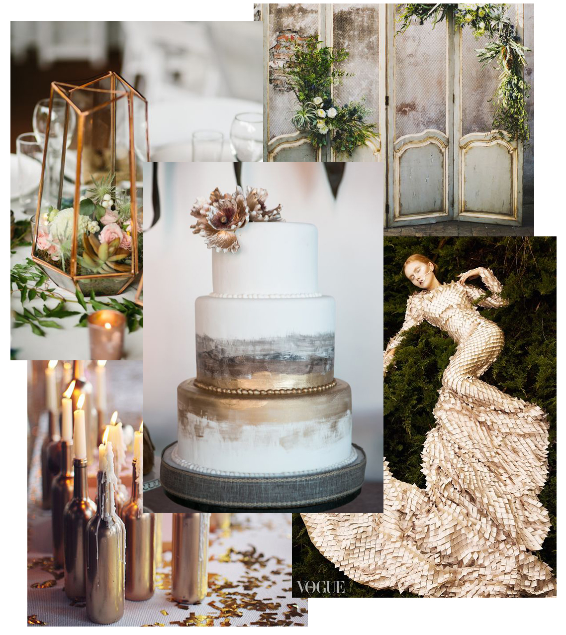images via Real Weddings, Vogue, Fab You Bliss, Brit & Co, Gold Wedding Shoes