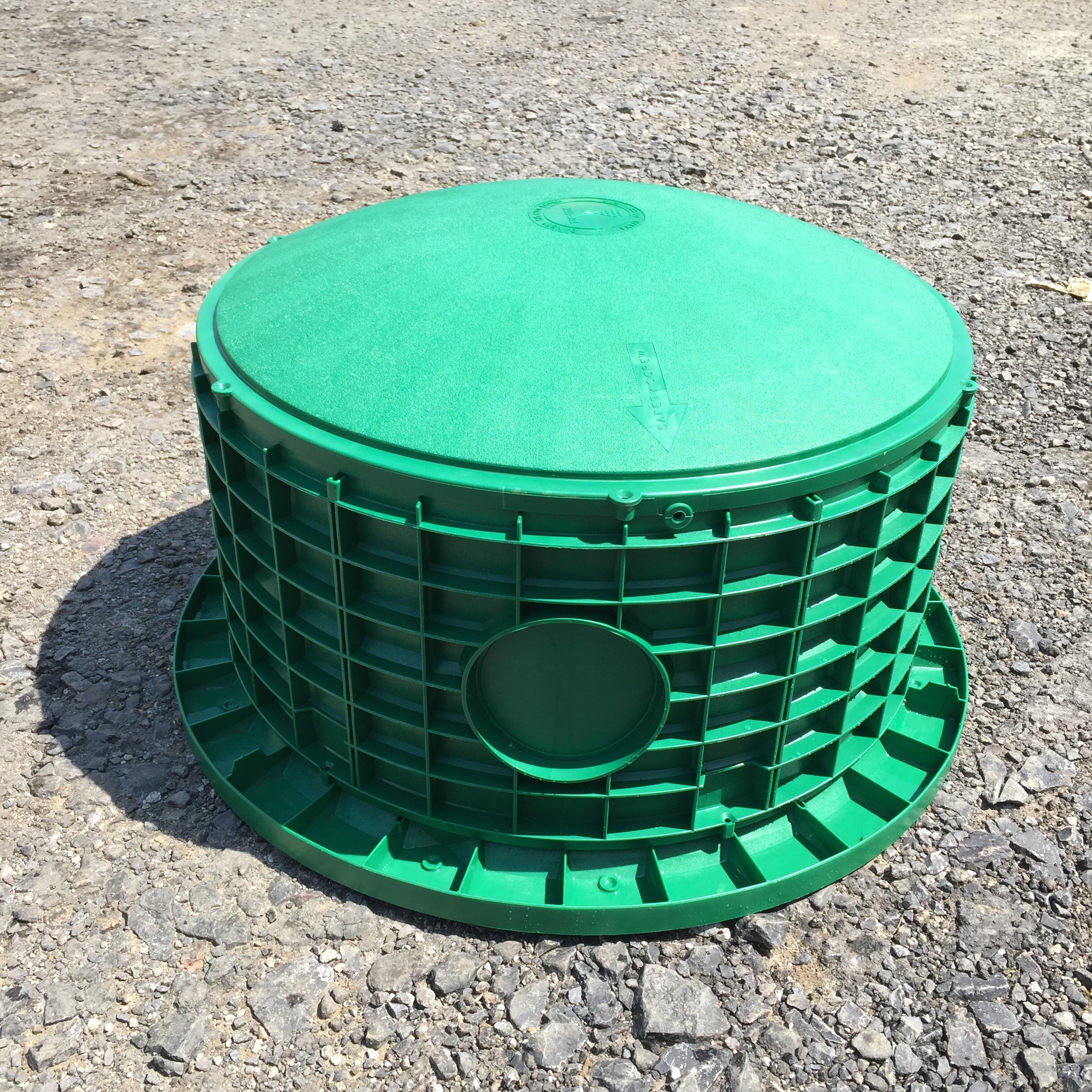 """24"""" Dome Lid shown with 12"""" Riser and Tank Adapter Ring."""