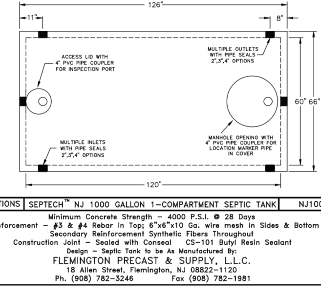 VIEW ALL SEPTIC TANK DIMENSIONS