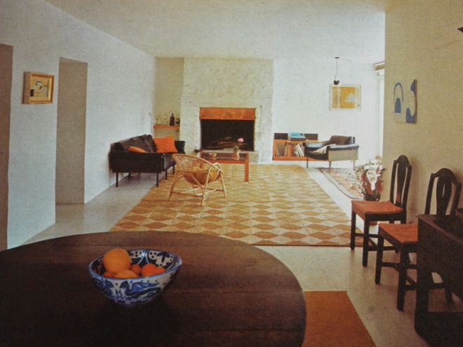 The living-dining room of the Scott family, featured in English Style, 1967