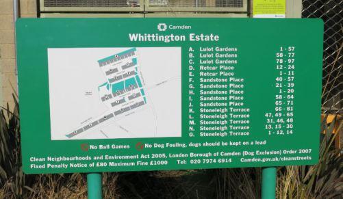 'Whittington Estate' sign-map