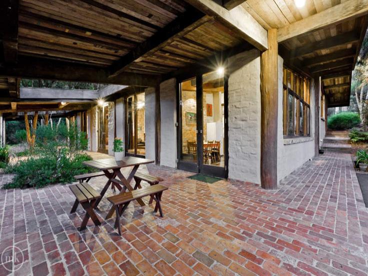 Characteristic brick paved veranda