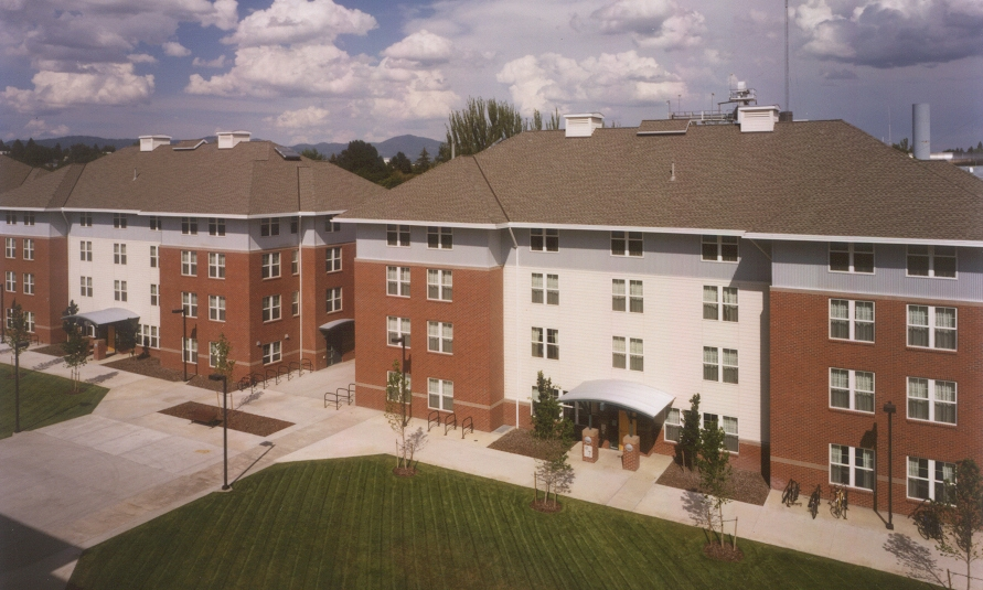Owner: University of Idaho Location: Moscow, ID   Located in the heart of campus, the wood framed structures introduced 'suite' style living facilities, enhancing the sense of community within each building. The project was completed in 2 phases and includes six 4-story and two 5-story buildings with housing, 5 classrooms, and a retail cafe space.