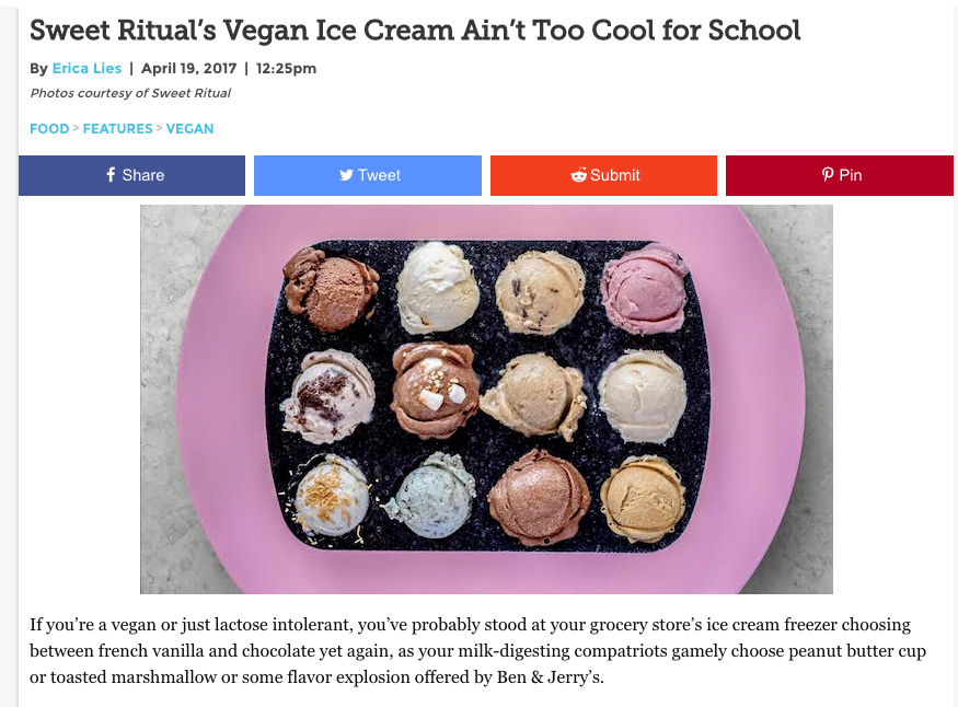 "April, 2017: Paste Magazine, ""Sweet Ritual's Vegan Ice Cream Ain't Too Cool for School"""