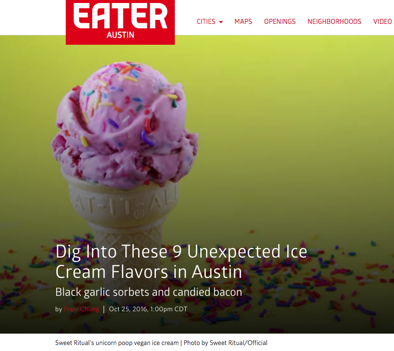 "October 2016, Eater Austin, ""Dig Into These 9 Unexpected Ice Cream Flavors in Austin"""