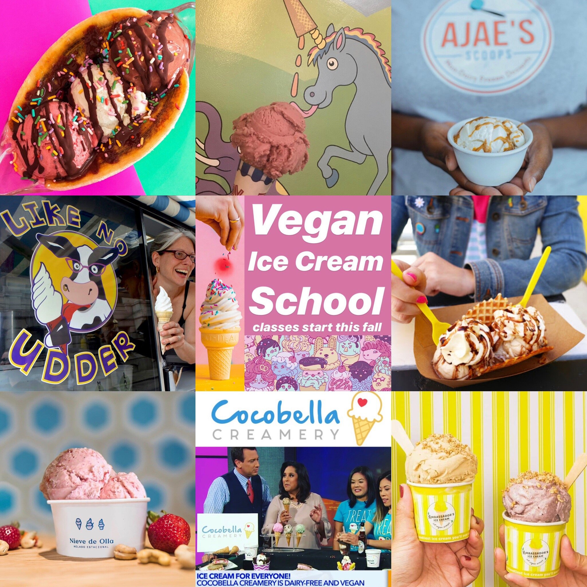 Student Success stories - Past participants in Cool School have gone on to open their own vegan ice cream shops including:Monkey Wrench in Salt Lake City, UTLike No Udder in Providence, RIBrightside Creamery in Denver, COCocoBella Creamery in Los Angeles, CARosanna's Dairy Free in Atlanta, GASunset Swirl in Santa Fe, NMNieve de Olla in Mexico City, MexicoAjae's Scoops in Ft. Worth, TXAwesome Bites, Co. in Houston, TXCornflower Creamery (part of Buffalo Pizza and Ice Cream Co.) in Sacramento, CAA Crafted Goodness, in Orlando, FLAbassador Ice Cream, Mandaluyong, Philippines