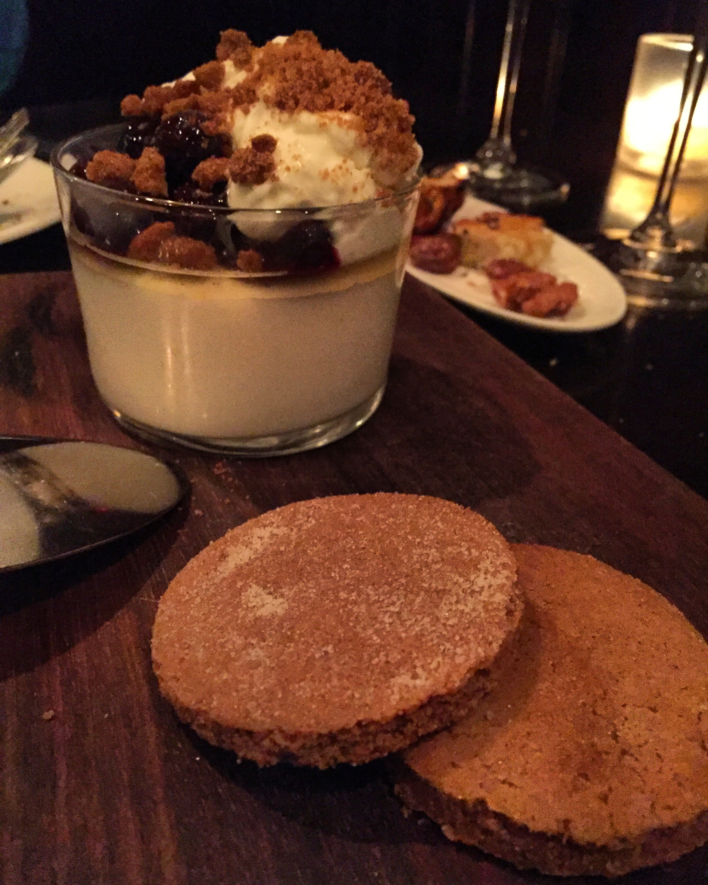 Panna Cotta, cherries, and housemade gingerbread cookies! 😍
