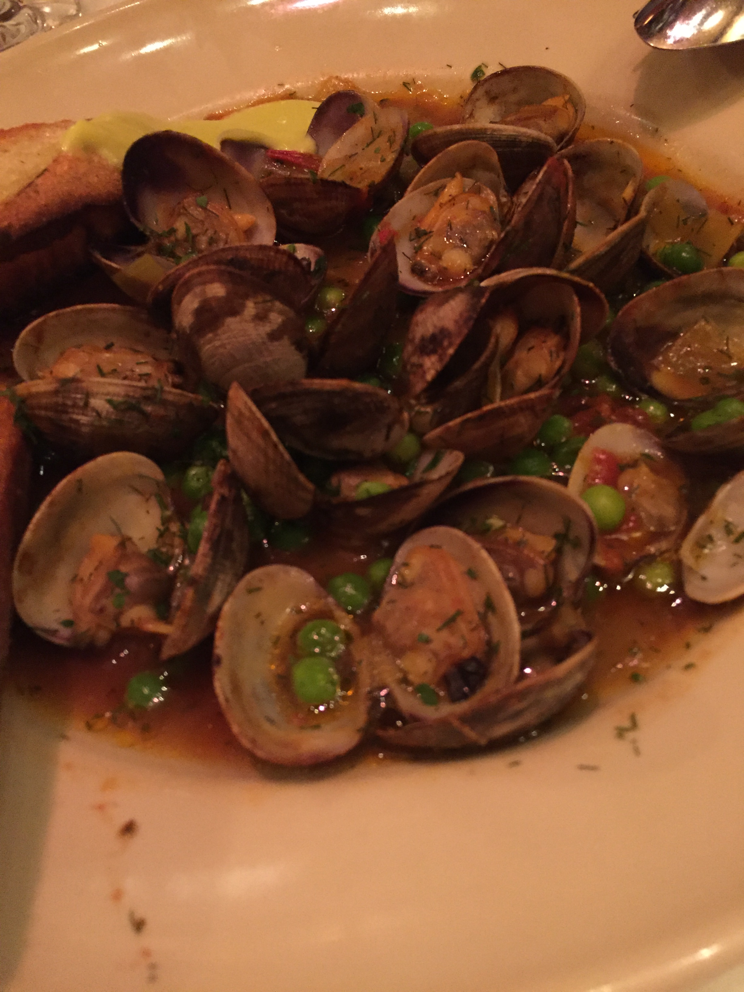 Fresh peas made another appearance, this time in these baby clams, it was tres magnifique!