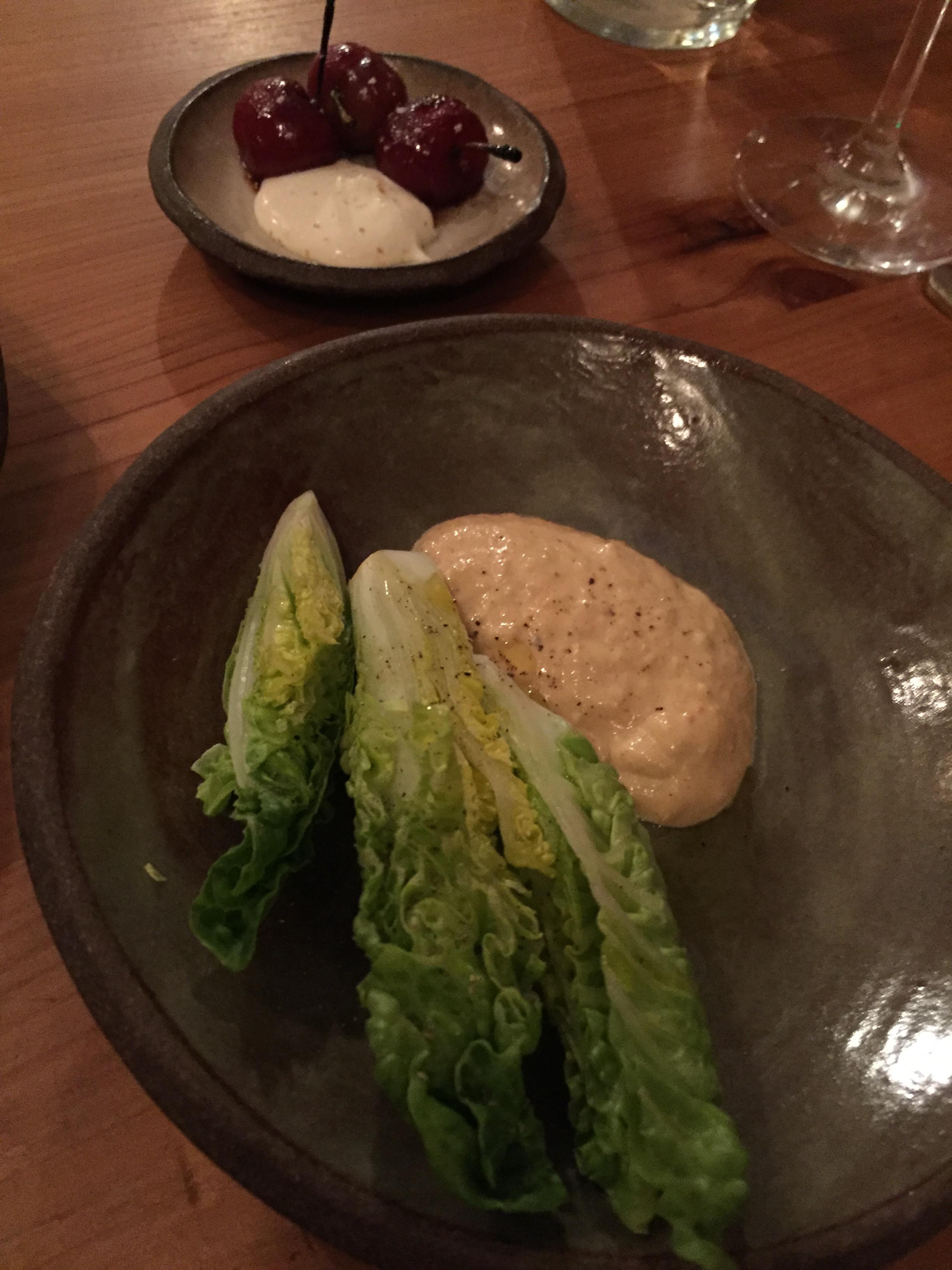 Roasted Brooks Cherries with Almond Cream; Lettuce Hearts with Kasu Caesar.