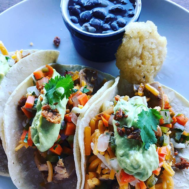 Today's lunch special = Chicken Tacos with black beans and crispy rice cake