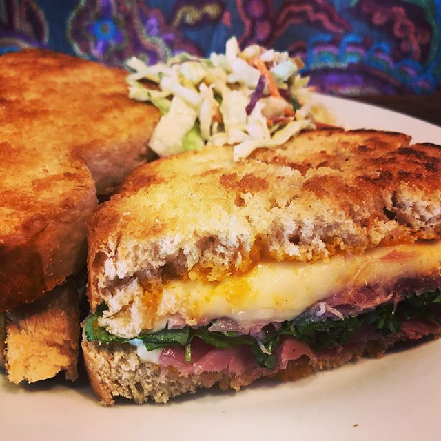 Today's Special = Prosciutto Grilled Cheese with Honey Roasted Apricot Butter