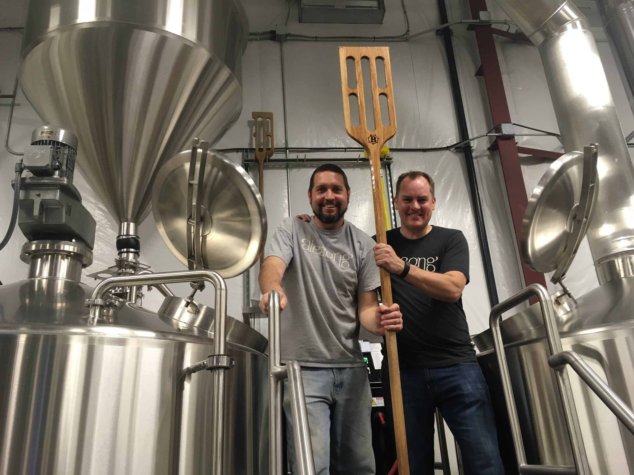 Scott Freck, Executive Director of the Eugene Symphony, with Matt on brewday.