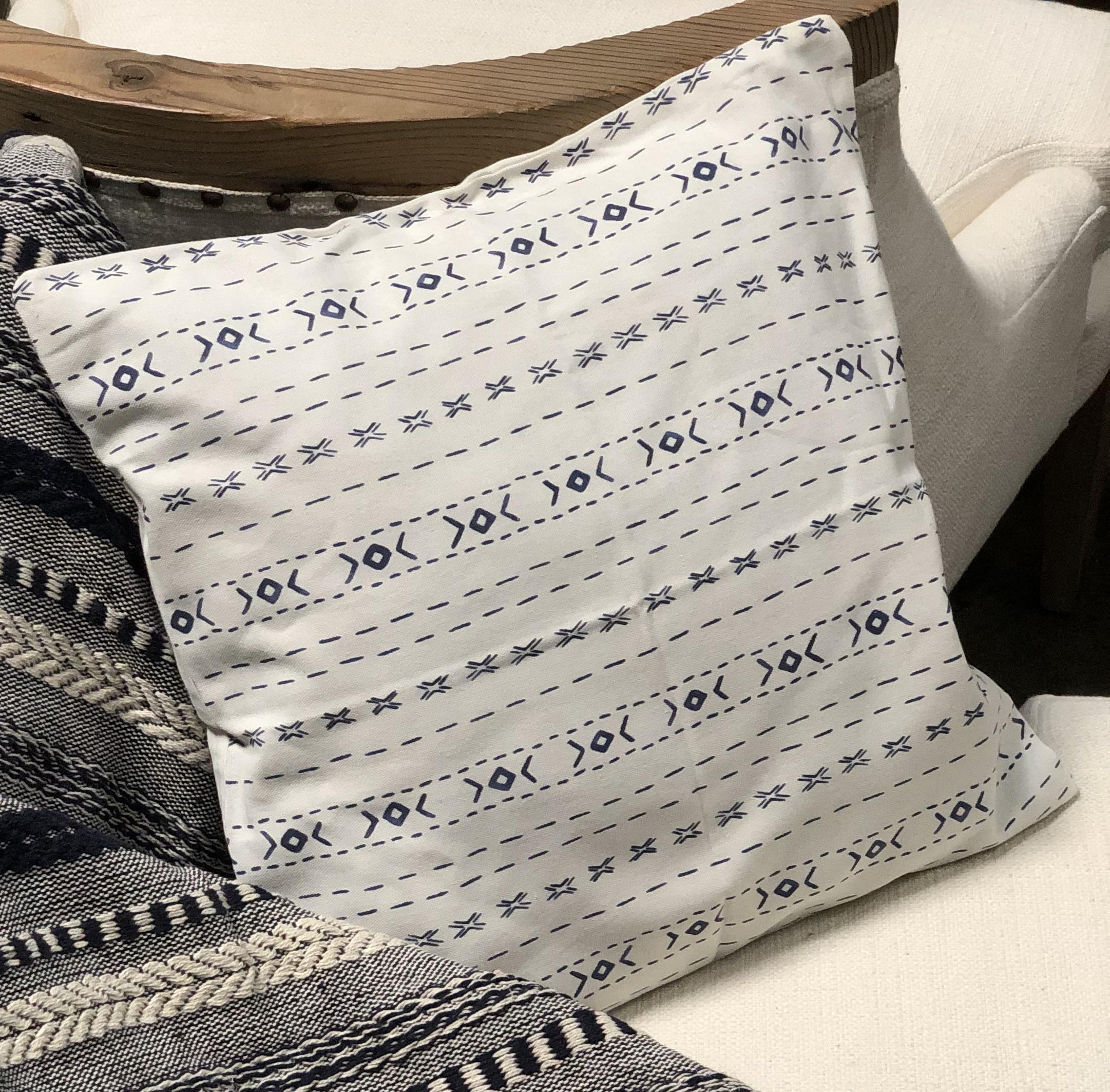 Snø Blue Square Pillow -