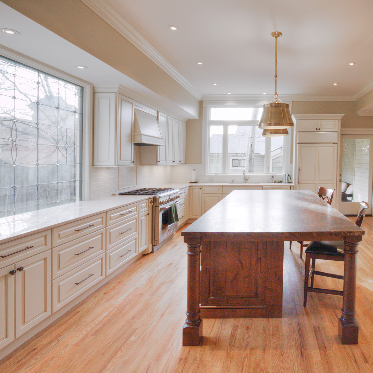 Open beige kitchen