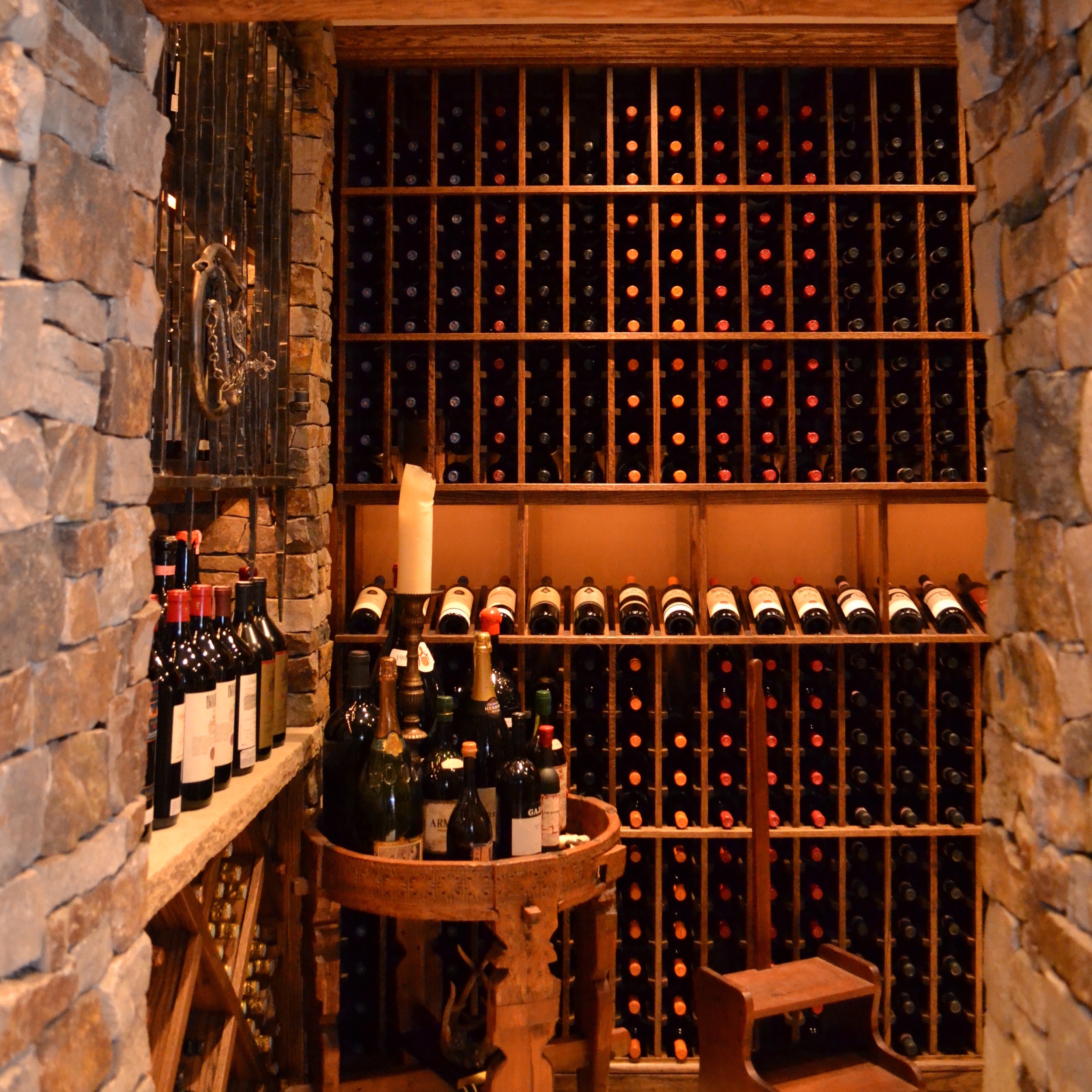 stone and wood wine cellar