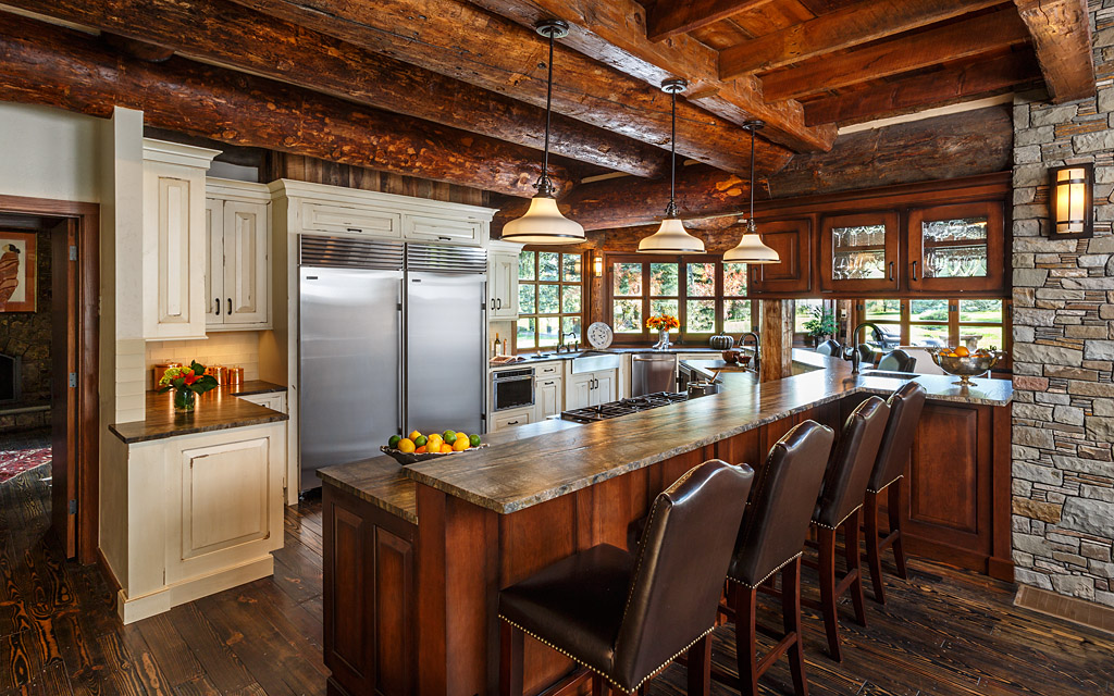 Stone and log ceiling kitchen