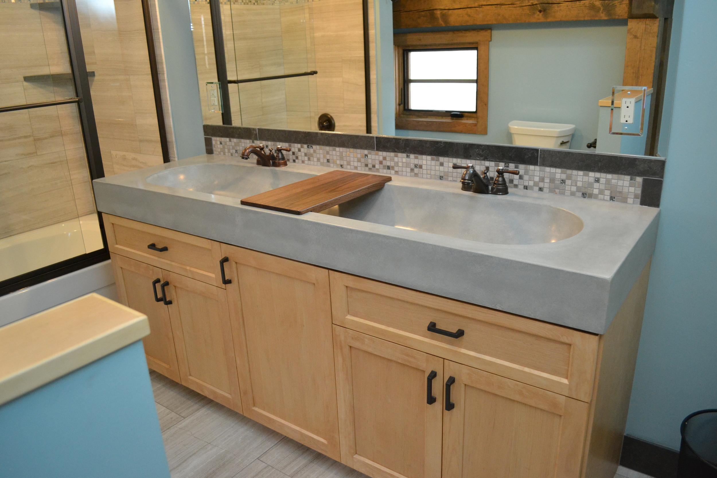 custom bathroom vanity with wood accessory