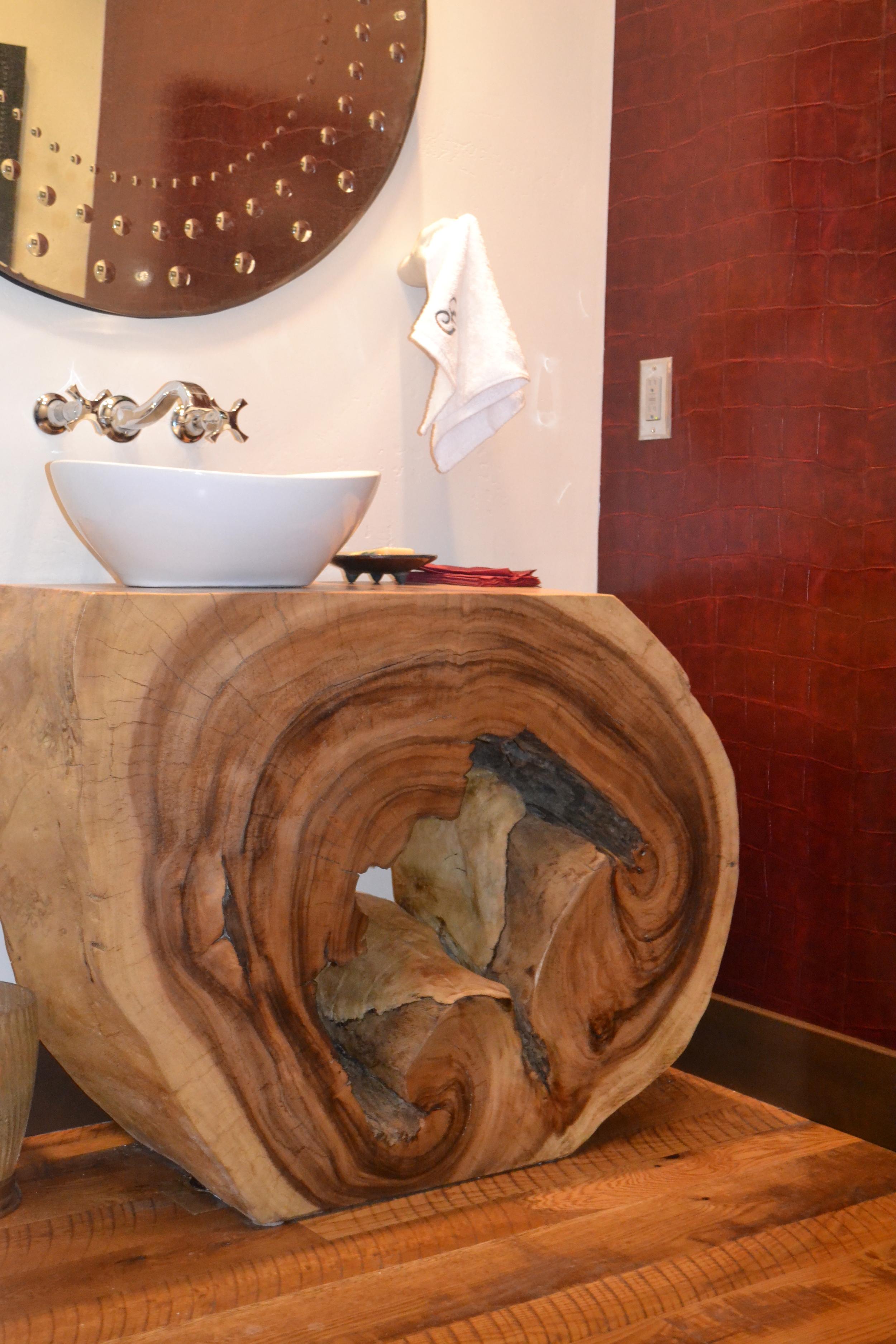 custom juniper wood bathroom vanity with vessel sink