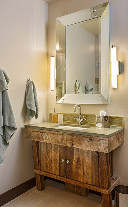 rustic concrete and wood bathroom vanity