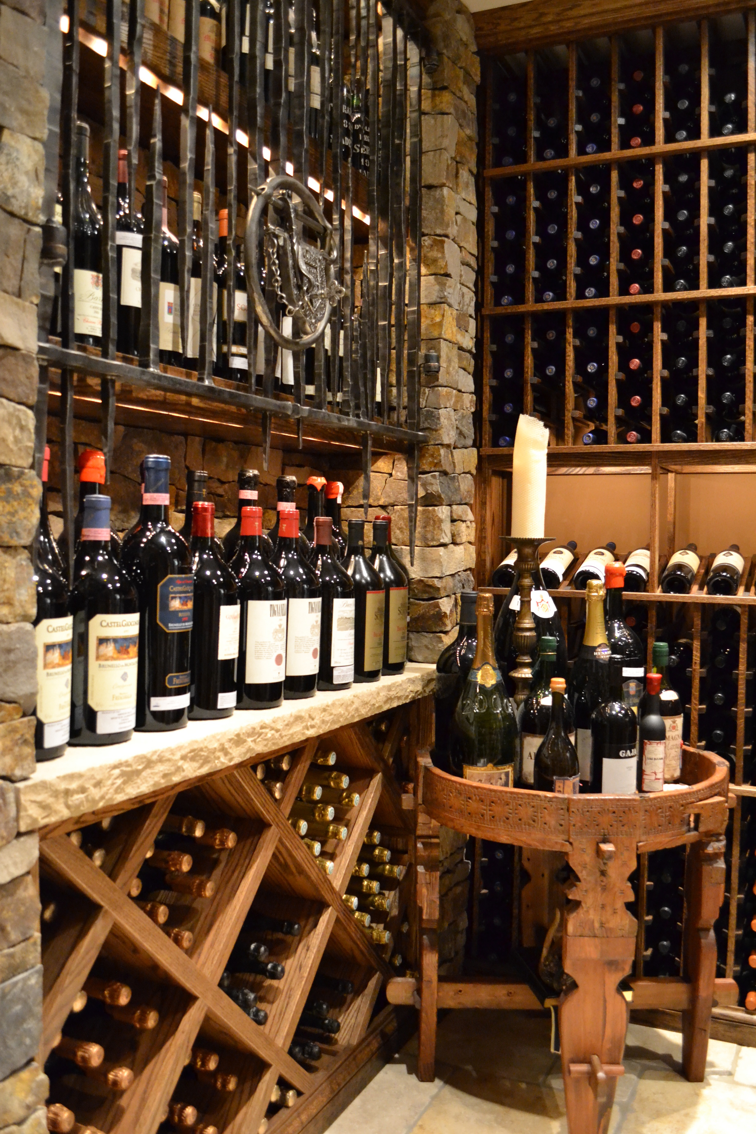 wine bottles in wine custom whine cellar