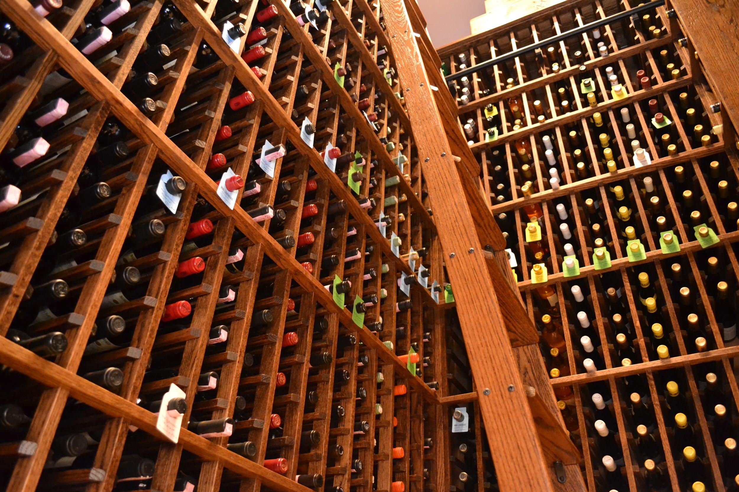 Wine cellar with ladder