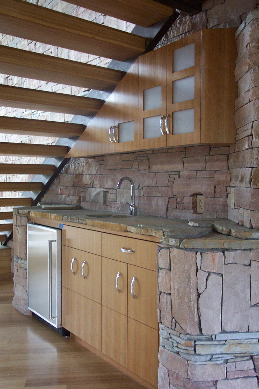 Scandinavian stone and wood bar