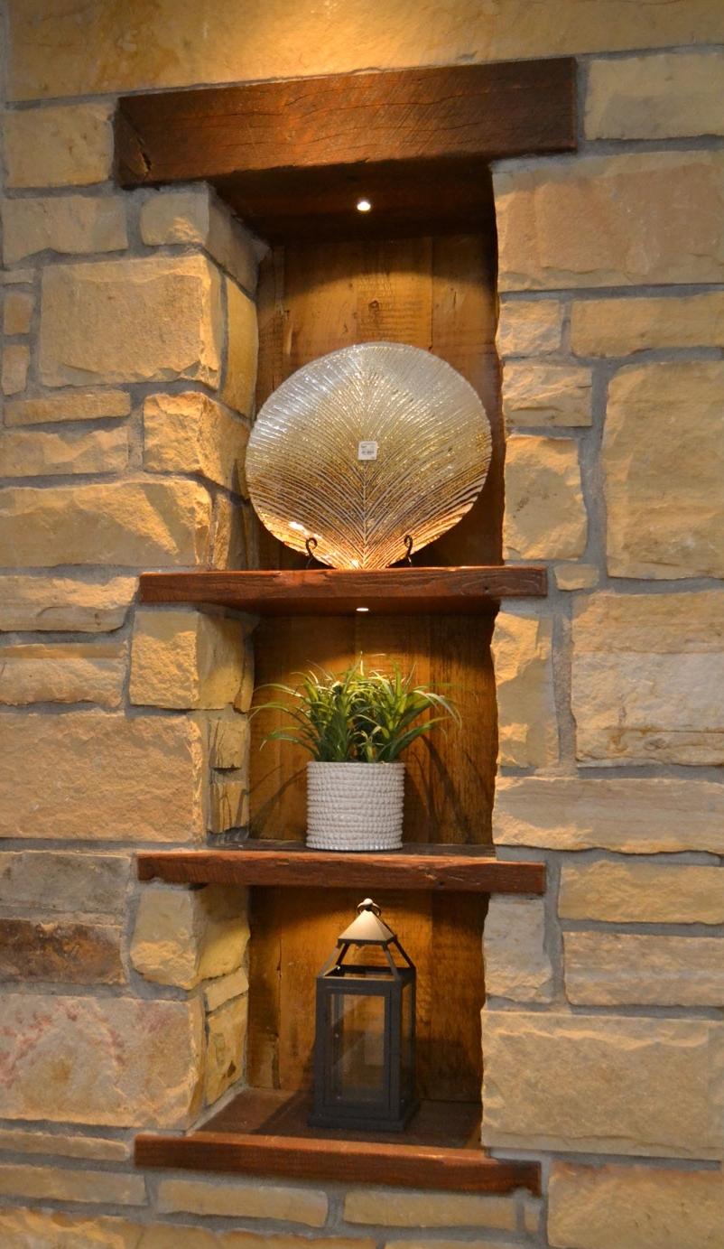 Custom wood and stone shelving