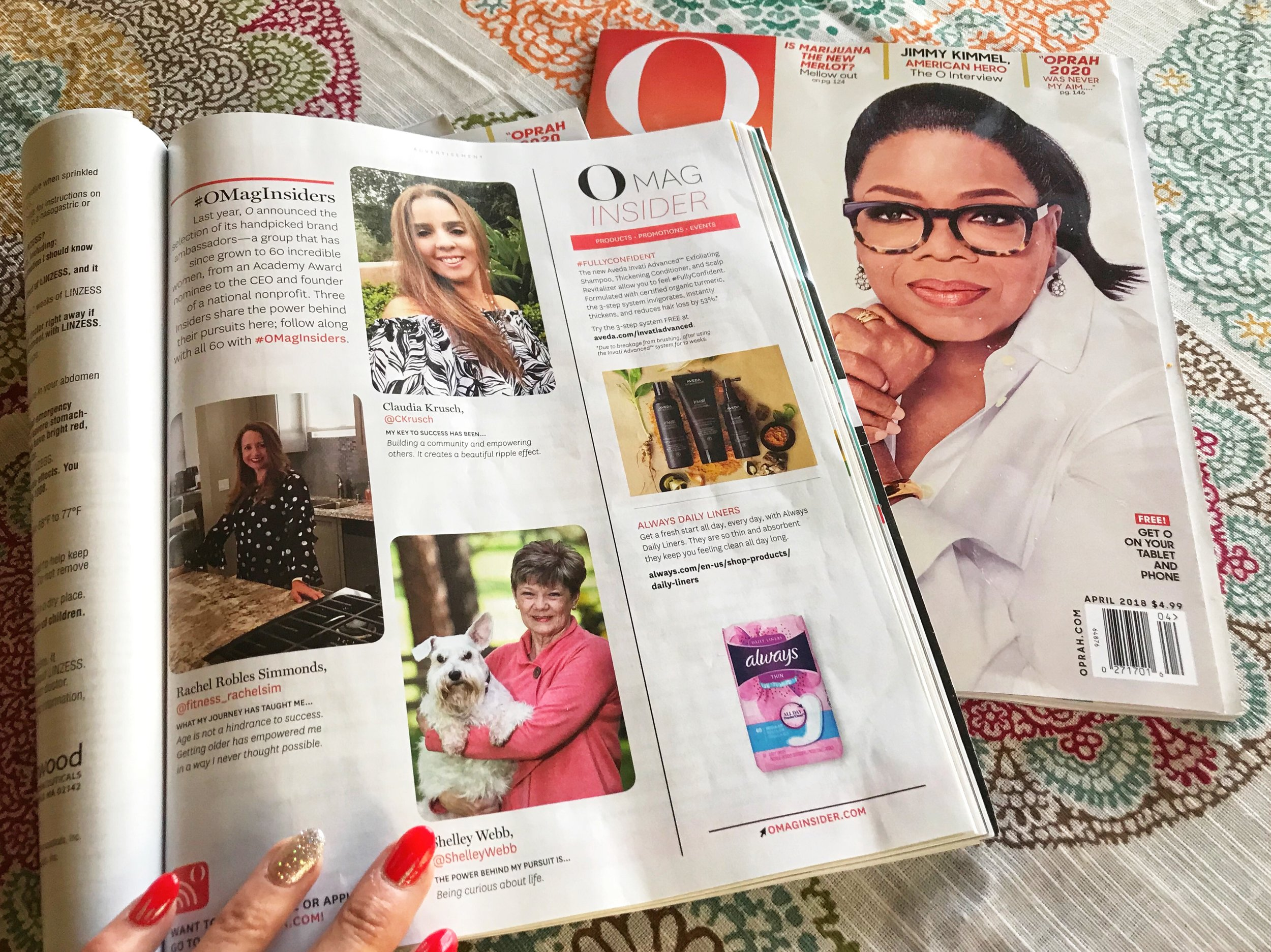 """I received this feature in the magazine for my influence in regards to the O Mag Insiders, brand ambassadors for O, The Oprah Magazine. Her """"posts are the best in the business, driving real engagement and awareness for the group""""."""
