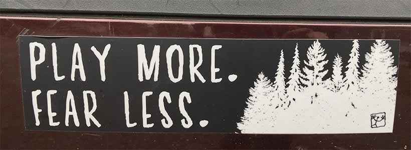The bumper sticker on my car. Bought it at  Wild Play  zipline course on Vancouver Island, BC. Pertains to art and writing too.