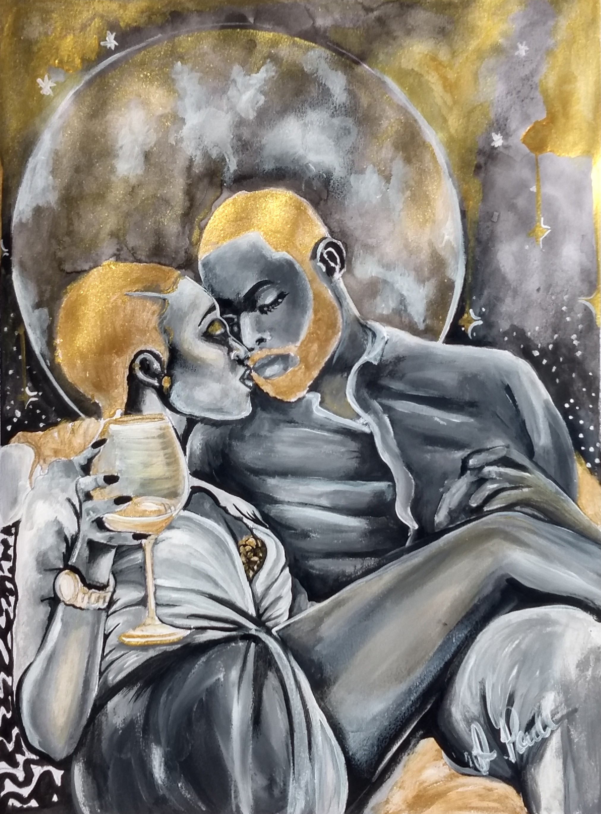 Moonlit Romance Black Love Art Poetically Illustrated Art by Destiney Powell.jpg