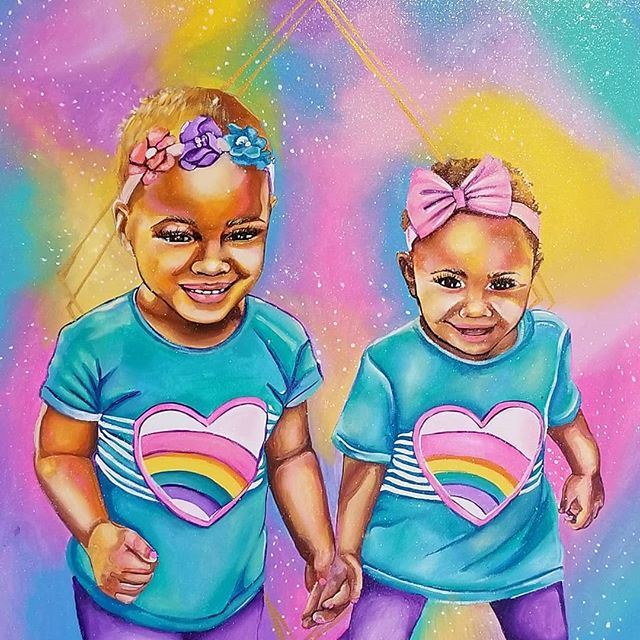 💖💜💛🧡💚💙 Full view of this very colorful commissioned piece. I love painting children and using every color I can get my hands on. I could paint commissions like this all day!! . . . . . #art #artlover #rainbow #rainbows #explore #naturalkids #naturalhairstyles #naturalhairart #mixedkids #babygirl #sisters #blackgirlswhopaint #blackbeauty #beautifulgirls #beautifulbabies #brownskingirls #melaninart #melaninmagic #blackart #blackartist #artgang #customart