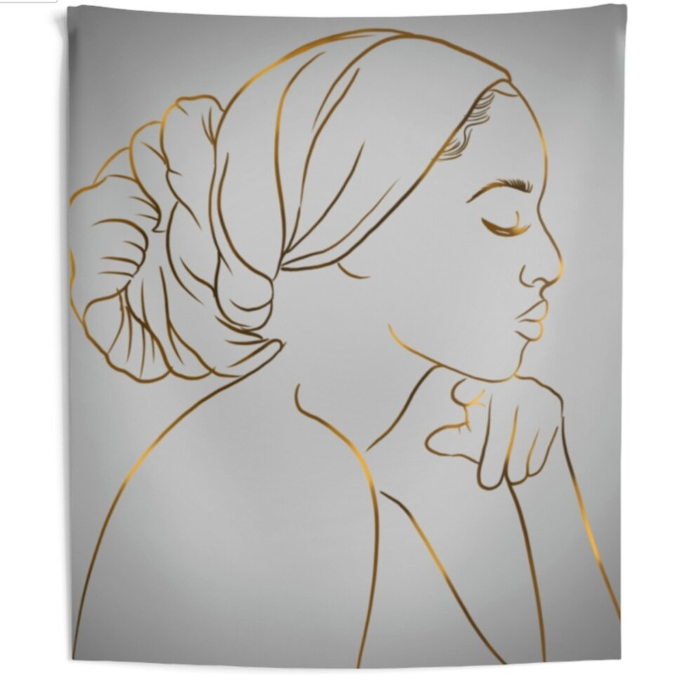 Meditation Queen Line Art Tapestry Poetically Illustratedshop Poetically Illustrated