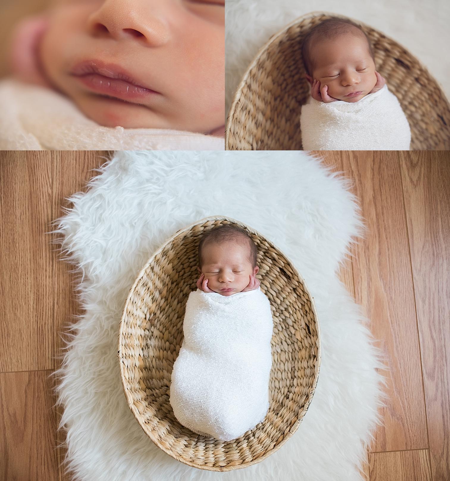 collage of a newborn baby boy in basket